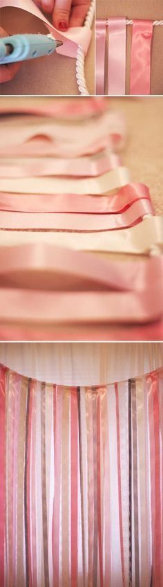 Cute ribbon banner tutorial. Great for a party or girl's bedroom decor.