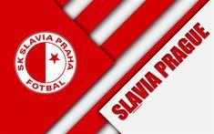 Download wallpapers SK Slavia Praha, 4k, logo, material design, red white abstraction, Czech football club, Prague, Czech Republic, football, Czech First League, F? Slavia Prague