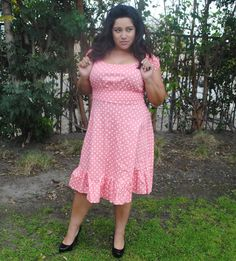 Womens Plus Size Dress PINK LIGHT CORAL Polka Dot , Rockabilly ,Pin Up, Retro style