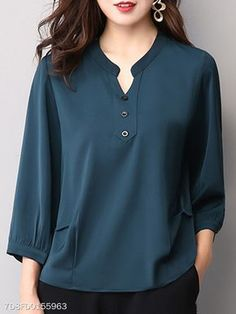 Autumn Spring Women Single Breasted Decorative Button Plain Long Sleeve Blouses … Autumn Spring Women Single Breasted Decorative Button P. Blouse Styles, Blouse Designs, Blouses For Women, Pants For Women, Bluse Outfit, Hijab Fashion, Fashion Outfits, Womens Fashion, Fashion Top
