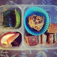 School lunch: cucumbers and snap peas, apples and beets, grilled cheese squares and homemade chocolate chip cookie (GF and dairy free. And I get more compliments on these than any other chocolate chip cookie I've made!). One sick kiddo today. Making only one of these feels odd...