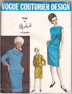 Vogue Couturier Design 1386 by Michael of London Women Jacket Skirt Suit and Overblouse Vintage 1960s Sewing Pattern Miss 12 - Rare