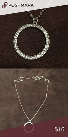 """Silver Fashion Necklace 32"""" 32"""" chain with extender Rhinestone Circle costume jewelry Jewelry Necklaces"""