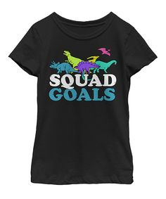 This Black Dinosaur 'Squad Goals' Tee - Kids & Tweens by Fifth Sun is perfect! #zulilyfinds