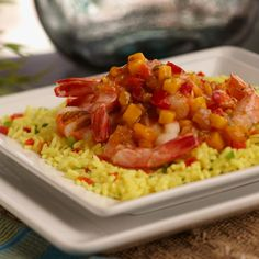 """stir fry shrimp and top with red pepper mango for """"island mango shrimp"""" yumminess.  salsa is not for just chips anymore!"""