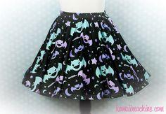 2cc81b34e1559 Graveyard Shift Printed Skater Skirt (Bats