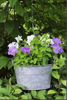 .I love flowers in old wash tubs or metal containers. Just my style!