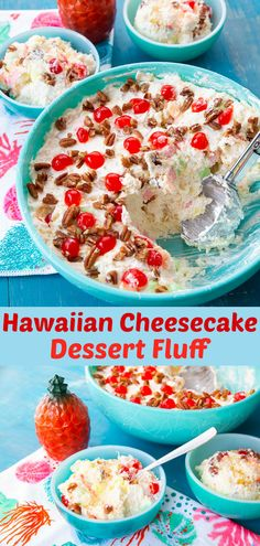 This decadent tropical Hawaiian Cheesecake Fluff Dessert Salad has a delicious, creamy cheesecake filling is mixed with pineapple and coconut and topped with cherries and pecans - the perfect dessert salad! Fluff Desserts, Cheesecake Desserts, Cheesecake Fruit Salad, Cheesecake Mix, Pineapple Cheesecake, Icebox Desserts, Pineapple Desserts, Hawaiian Dessert Recipes, Hawaiian Dishes
