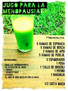 Jugo verde para lidiar con la menopausia - Infografías y Remedios. #menopausia #jugo #salud