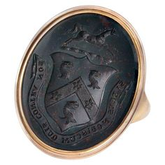 Shop diamond and sapphire signet rings and other antique and vintage rings from the world's best jewelry dealers. Broken Sword, Family Crest Rings, Mens Pinky Ring, Brown Rings, Art Ancien, Ancient Jewelry, Rings Cool, Gold Set, Signet Ring