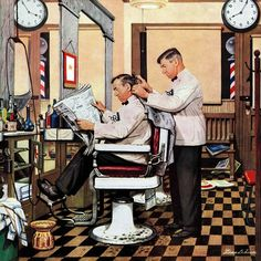Marmont Hill Barber Getting Haircut Stevan Dohanos Painting Print on Canvas