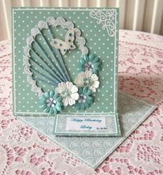 Nice use of spirelli in card Birthday Cards For Women, Handmade Birthday Cards, Greeting Cards Handmade, Female Birthday Cards, Card Birthday, Fancy Fold Cards, Folded Cards, Shaped Cards, Easel Cards