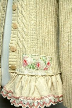Mori Girl Style Sweater, Shabby Chic Sweater, Anthropologie Style Women's Upcycled Clothing by Primitive Fringe Sewing Clothes Women, Diy Clothing, Clothes For Women, Redo Clothes, Altered Couture, Mori Girl Fashion, Diy Fashion, Trendy Fashion, Woman Fashion
