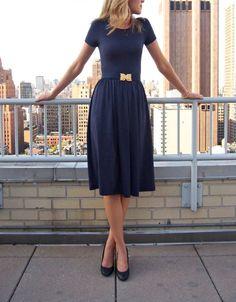 blue short sleeve midi dress