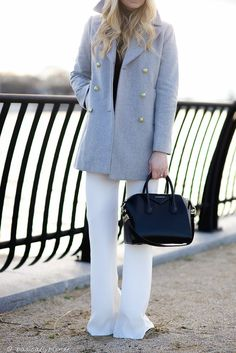 white wide leg pants, white pants outfit, outfit ideas, what to wear with white pants, givenchy black antigona bag, grey peacoat, j crew peacoat