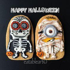 Minion Halloween, Halloween Baking, Halloween Food For Party, Halloween Season, Happy Halloween, Halloween Decorations, Halloween Foods, Halloween Biscuits, Halloween Cookies