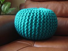 HAND KNITTED small pouffe/floor cushion/footstool ( please message me for…