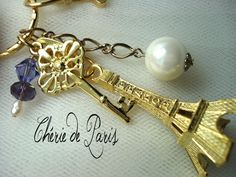PARIS EIFFEL TOWER Gold Charm Skeleton Key Large Pearl by CherieDeParis