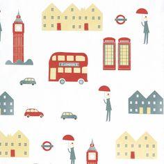 Cosas Minimas Design Vliestapete 'London' rot/beige/saphir bei Fantasyroom online kaufen