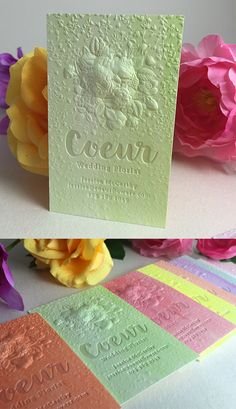 Lovely 3D Embossed Business Cards with a wedding florist theme. Featuring a Pearl Foil logo and produced on our hand painted Bamboo stock. #jukeboxprint