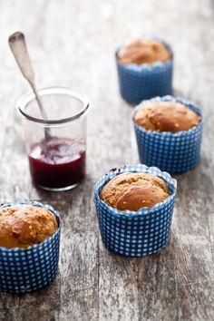 Millet Muffins & homemade strawberry jam.