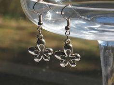 silver tone flower dangle drop earring hook #Handmade #DropDangle