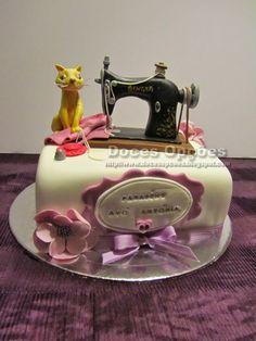Doces Opções: Bolo com a máquina de costura da avó