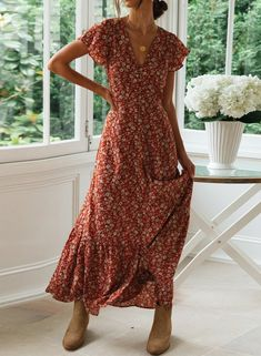 Boho Floral Butterfly Sleeves Maxi Dress -Rust floral printed-Button down front -Butterfly sleeves-Ruffling in the Polyester-Length: Maxi Dress With Sleeves, The Dress, Short Sleeve Dresses, Cute Maxi Dress, Summer Dresses With Sleeves, Wrap Dress Outfit, Casual Dresses, Fashion Dresses, Elegant Dresses