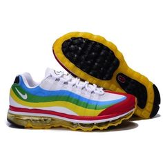 big sale fe1b9 53217 Mens Nike Air Max 95+360 Sneakers White Blue Red Yellow MX-387 via Polyvore