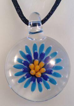 Starburst Pendant, Boro Hand Blown Glass, #19 Turquoise, Purple and Yellow by AspenHotGlass on Etsy