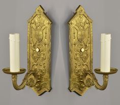 Brass Tudor Revival Wall Sconces c1930 Vintage Antique Gold Wall Lights
