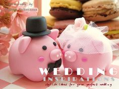 LOVE ANGELS  pig Wedding Cake Topperlove  Piggy and by kikuike