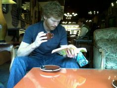 "Jeez!  Some people have all the luck.  This submitter found a bearded redhead reading in a coffee shop of some kind.  This never happens for me!    As the submitter wrote, ""Beard + Book = Swoon.""  Yes.  Yes, it does.  (thanks, jessica!)  —Posted by Lindsay"