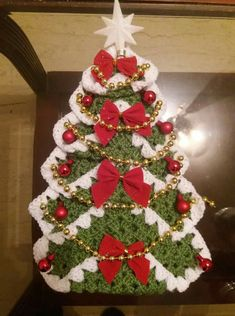 Vintage Granny Square Christmas Tree Free Crochet Pattern-VMagnificent DIY Christmas Trees Ideas For Home Decor 34 - SalvabraniRed white green door - Design by Hülya Coşkun -My crocheted gingerbread tree. Crochet Christmas Decorations, Christmas Tree Pattern, Crochet Christmas Ornaments, Christmas Crochet Patterns, Holiday Crochet, Christmas Sewing, Diy Christmas Tree, Christmas Angels, Christmas Projects