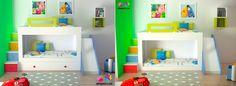 La misma cama a ras de suelo o con base de dos cajones y combinada con escalera…