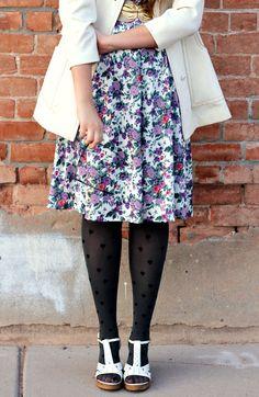 floral dress + polka dot tights