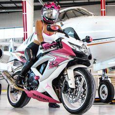 Motorcycles, bikers and Suzuki Gsx R, Suzuki Motos, Suzuki Motorcycle, Lady Biker, Biker Girl, Motorbike Girl, Sportbikes, Hot Bikes, My Ride