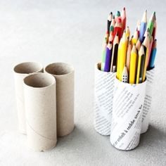 Make your own pencil holder out of used toilet paper rolls.