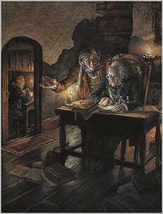 Illustrator P. A Christmas Carol Scrooge A Christmas Carol, Christmas Carol Charles Dickens, Christmas Past, A Christmas Story, Vintage Christmas, Ebenezer Scrooge, Christmas Pictures, Drawing, Illustrators