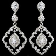 Elegance By Carbonneau Ornate Vintage Look Cz Wedding Earrings