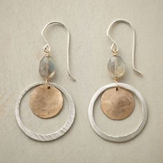"""LUNAR ORBIT EARRINGS -- Beneath the heavenly iridescence of labradorites, sterling silver hoops orbit moon-like disks handcrafted of 14kt gold filled. French wires. Handmade in USA. 1-7/8""""L."""
