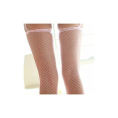 Women Sexy Lace Hollow Fishnet Stockings Nonslip Mesh Thigh High Long... ($3.58) ❤ liked on Polyvore featuring intimates, hosiery, tights, pink, women lingerie, sexy pantyhose, lace lingerie, pink fishnet tights, sexy thigh high stockings and sexy lace lingerie