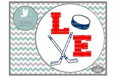 Hockey Love with Hockey Sticks and Puck Sports Cutting File LL024C  SVG DXF EPS AI JPG PNG from DesignBundles.net
