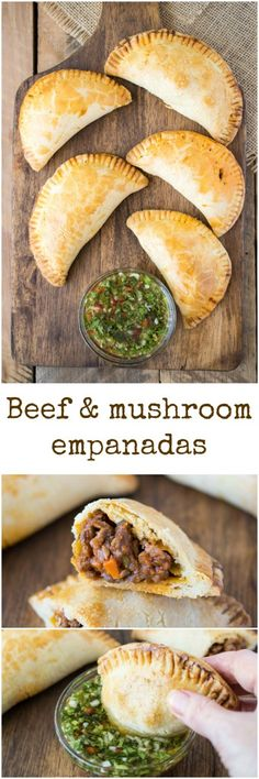 Beef and mushroom empanadas. Ground beef, mushrooms, herbs and vegetables wrapped in a flaky pastry and baked along with a delicious chimichurri dipping sauce.
