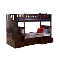 Atlantic Columbia Staircase Bunk Bed over with Flat Panel Bed Drawers in Walnut