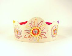 Princess Crown -- Perfect for Birthdays or Dress-Up -- Natural Organic Canvas Crown with Flower Embroidery on Etsy, $40.21