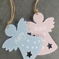 Baby's First Christmas Wooden Angel Decoration