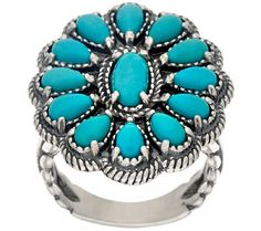 Sleeping Beauty Turquoise Sterling Cluster Ring by American West