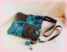 Handmade by Judy Majoros- Turquoise-black faux fur Bag Fur Bag, Bago, Faux Fur, Turquoise, Handmade, Hand Made, Green Turquoise, Handarbeit