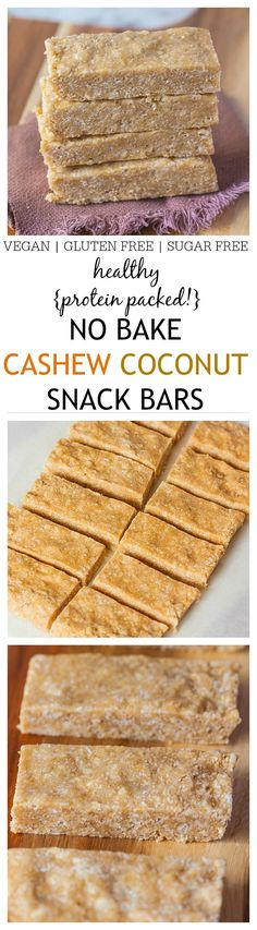 Healthy No Bake Cashew Coconut Protein Bars which uses 1 bowl and takes 5 minutes- No food processor necessary AND stable at room temperature! {vegan, gluten free}